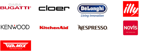 Bugatti; Cloer; Delonghi; Illy; Kenwood; Kitchen Aid; Nespresso; Novis; Turmix