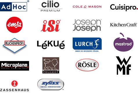 Rösle; Peugeot; Küchenprofi; KitchenCraft; adhoc; Cilio; ColeMAson; Cuisipro; Emsa; Microplan; ISI; JosephJoseph; Lekue; Lurch; Mastrad; Zyliss; Zassenhaus; WMF