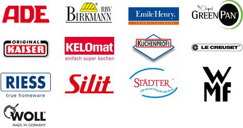 Birkmann; Ade Küchenwaagen; Städter; Riess; Emile Henry; Silit; Greenpan; Kaiser; Kelomat; WMF; Woll Pfannen; Le Creuset; Küchenprofi
