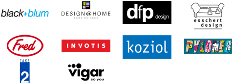 Pylones; Koziol; Design@home; dfp; Esschert; Invotis; Take2; Black&Blum; Fred; Vigar
