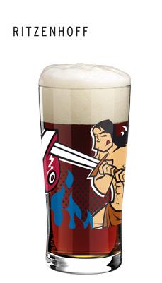 beer&more trendglas mit bierdeckeln auge