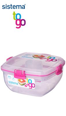 Sistema_TO GO_SI23356_Salat mit Besteck und Dressingbox rosa