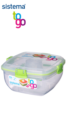 Sistema_TO GO_SI25356_Salat mit Besteck und Dressingbox grün